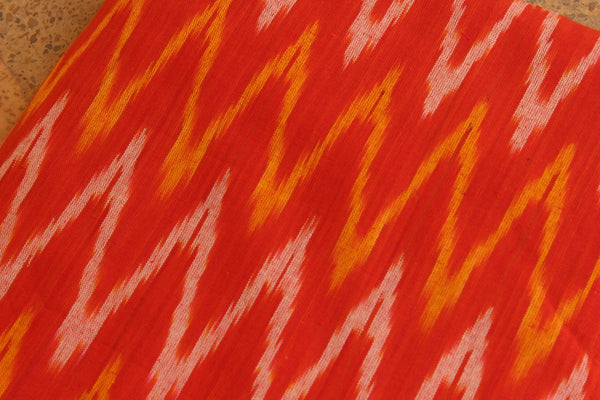 Red Cotton Ikat Running Fabric