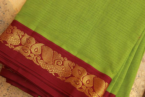 Mehndi Green Self Striped Gadwal cotton saree With zari Border