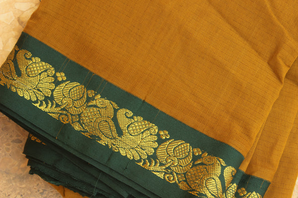 Olive Green Self Striped Gadwal cotton saree With zari Border
