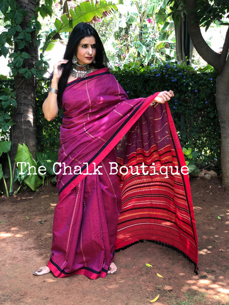 | Purple Magic | Purple Handloom mark' handwoven begumpuri saree
