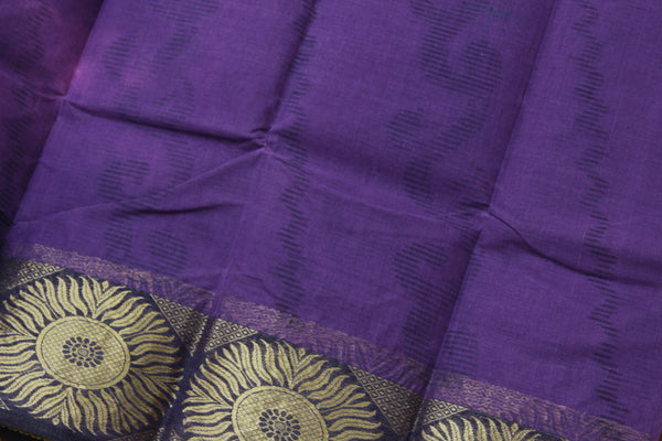 Purple tant cotton saree with zari border and contrast blouse fabric. TCB-TNT4-AY