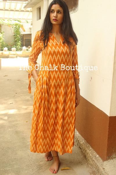 Mustard Ikat pleats Dress. GC-D-153-The Chalk Boutique