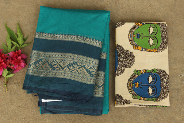 Sea Green tant cotton saree with border and contrast blouse fabric. TCB-AB1-BN