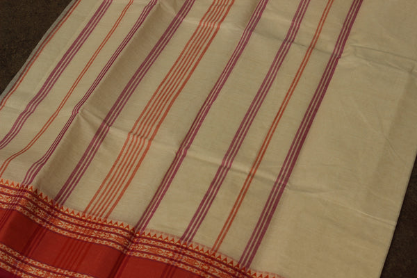 Cream tant cotton saree with fish woven border and contrast blouse fabric. TCB-AB2-BN
