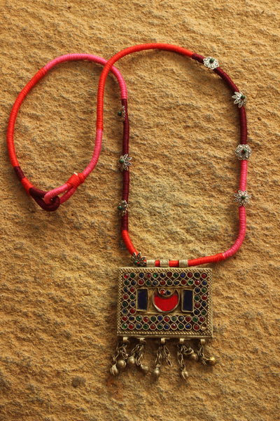 Dori necklace with antique german silver afghan pendant.