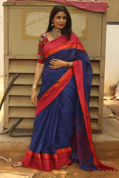ee363edb68 Royal Blue Soft and Light weight pure handloom cotton saree with woven  borders. TCB-