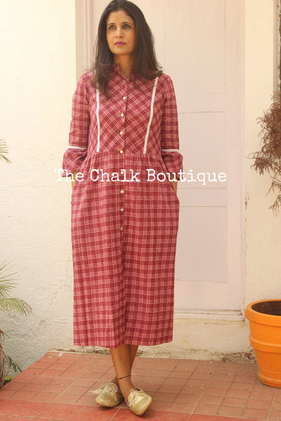 Red Checks Shirt Dress. GC-D-31R-The Chalk Boutique
