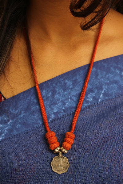 Adjustable handmade dori neckpiece in German silver. TCB-JWL-6030