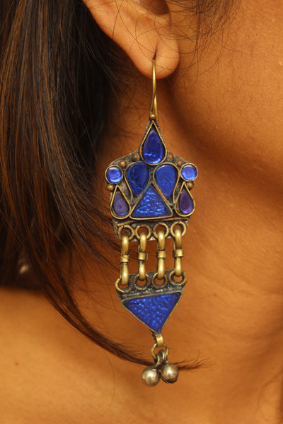Blue antique Afghani Earrings With Glass Work CN-JUNEAE23