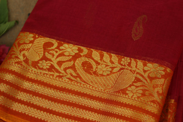 Red tant cotton saree with bootas all over, woven zari border and contrast blouse fabric. TCB-TZR2-AY-The Chalk Boutique