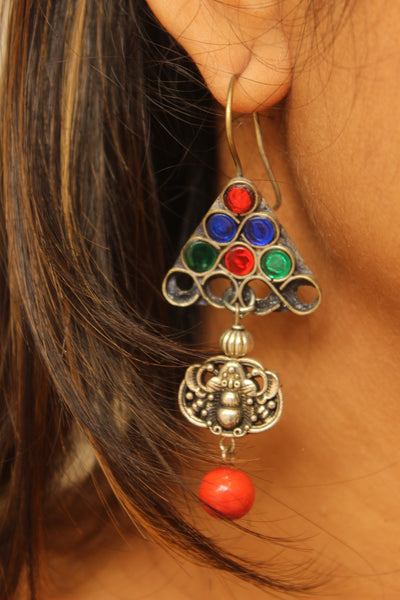 Multicolor antique Afghani Earrings With Glass Work CN-JUNEAE20B