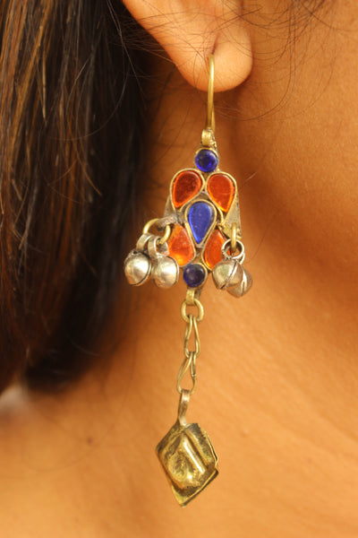 Orange and blue antique Afghani Earrings With Glass Work CN-JUNEAE24