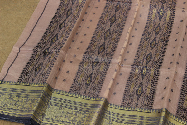 Onion tant cotton saree with bootas, woven zari border and contrast blouse fabric. TCB-TZR4-AY