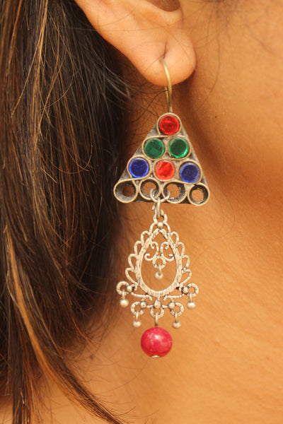 Multicolor antique Afghani Earrings With Glass Work CN-JUNEAE20A