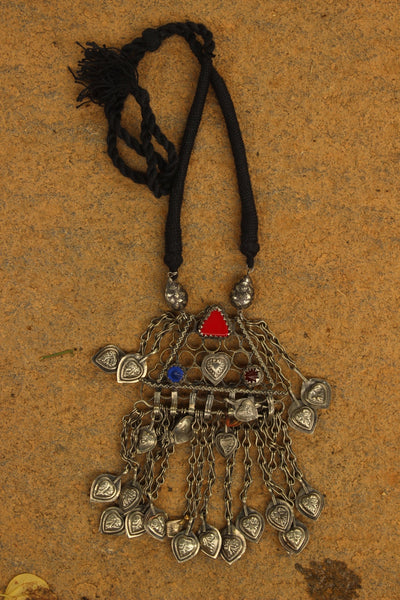 Antique Afghan German Silver Pendant Dori Necklace.