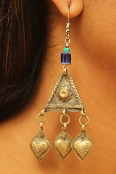 Antique Afghan and ceramic earrings. B-EA-202