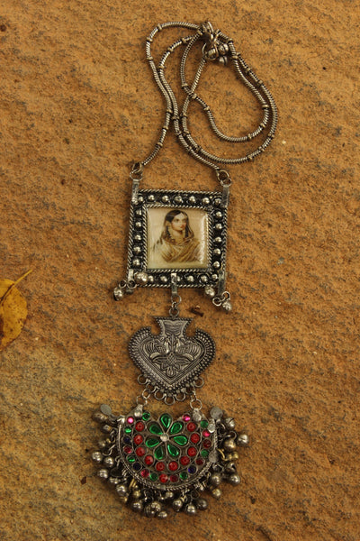 Antique Afghan German Silver Pendant Necklace with afghani painting.