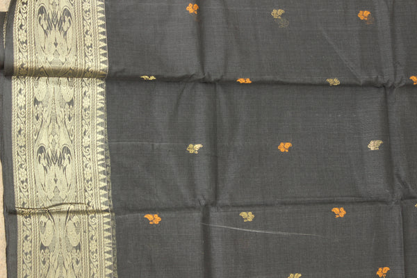 Black tant cotton saree with bootas and zari border. TCB-TZR3-AY