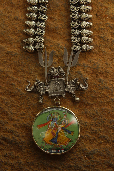 Radha-Krishna Long Antique Afghan Pendant Necklace.