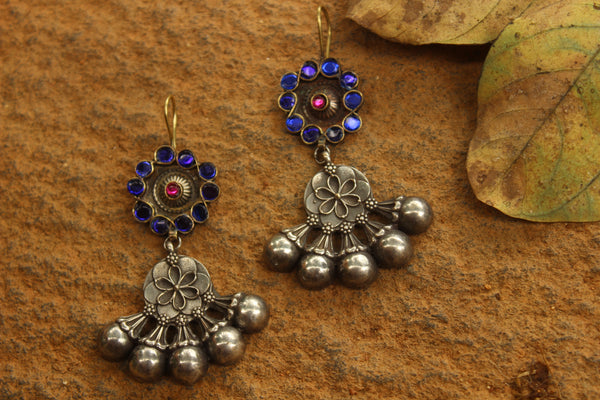 German Silver Blue Fusion Earrings