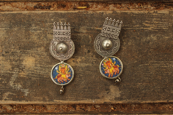 Ganesha German Silver Blue Fusion Earrings