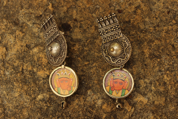 Ganesha German Silver Orange Fusion Earrings