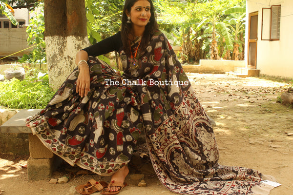 'Mudra' black base Hand Block Printed Cotton silk Kalamkari Saree TCB-3001