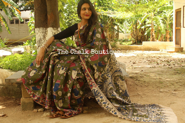 'Mudra' olive green hand Block Printed Cotton silk Kalamkari Saree TCB-3000