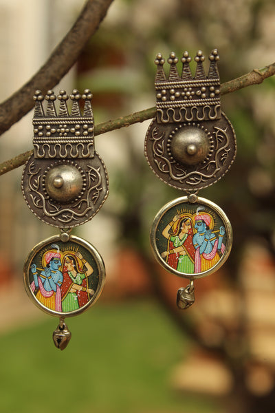 'Raas' Radha Krishna Fusion German Silver Earrings