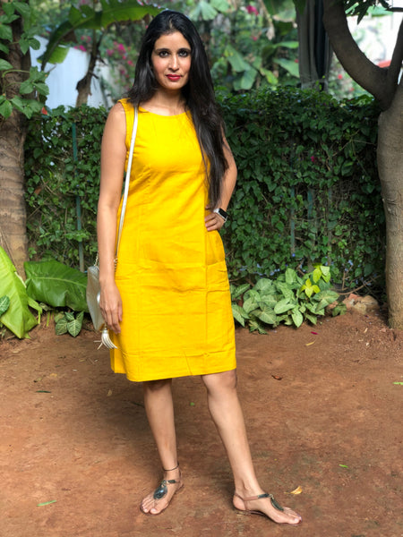 Mustard Yellow Khaadi Cotton Shiift Dress with V Back