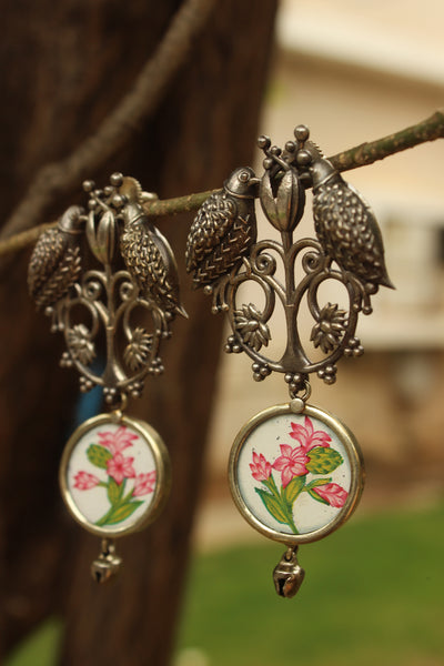 Bulbul German Silver White Fusion Earrings