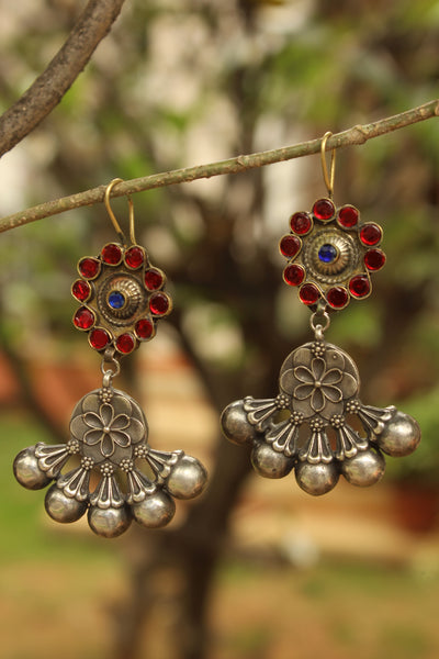 German Silver Red Fusion Earrings