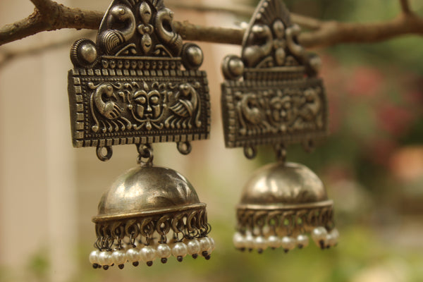 Trikon Jagannath German Silver Jhumka Earrings