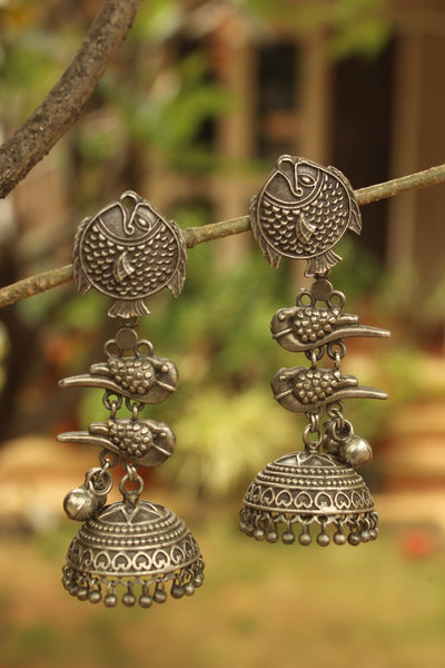 Chidiya Matsya German Silver Jhumka Earrings