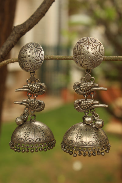 Round Chidiya German Silver Jhumka Earrings