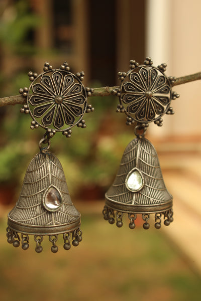 Conical German Silver Jhumka Earrings