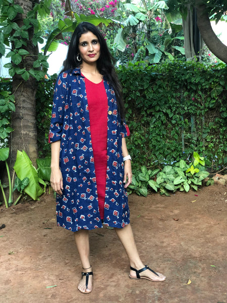 Indigo and Maroon Kites Printed Handloom Cotton Set of Two Dresses