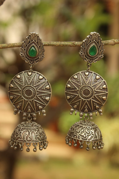 Surya German Silver Jhumka Earrings