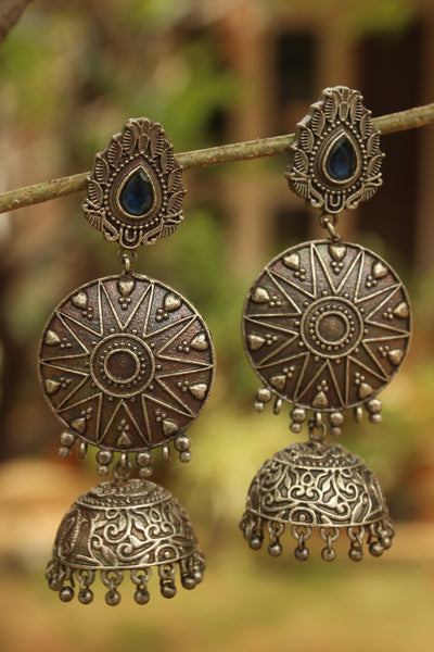 Blue Surya German Silver Jhumka Earrings