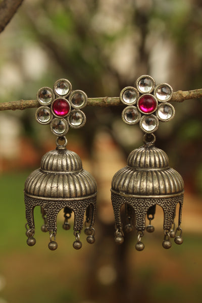 White Flower German Silver Jhumkas