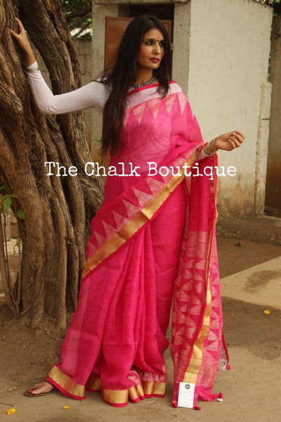 Pink linen saree with temple zari paar and tassels on the pallu. TCB-LIN6-AY-The Chalk Boutique