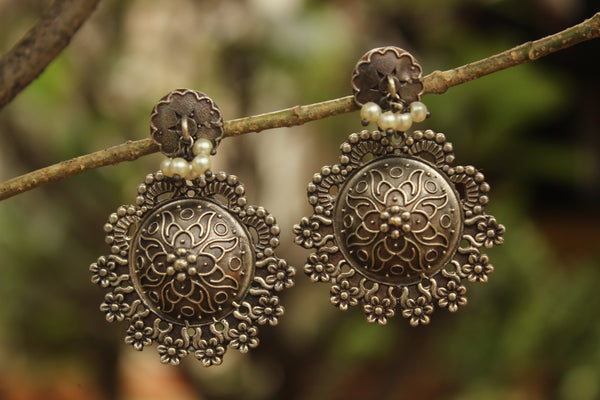 Phulkari German Silver Earrings