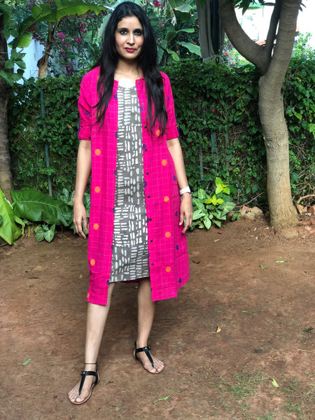 Pink and Grey Handloom Cotton Set of Two Dresses