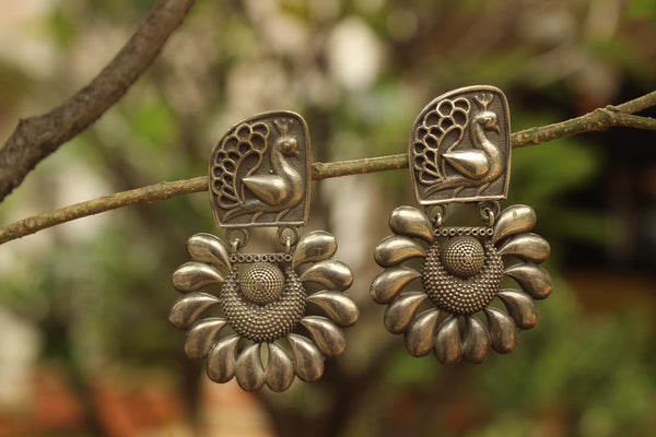 Morni German Silver Earrings