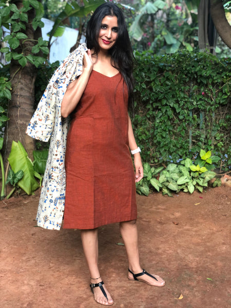 Beige and Rust Khaadi Cotton Silk and Rust Handloom Cotton Set of Two Dresses