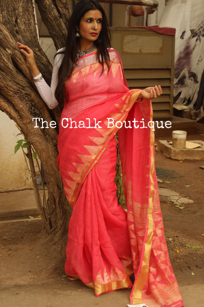 Linen saree with temple zari paar and tassels on the pallu. TCB-LIN5-AY-The Chalk Boutique