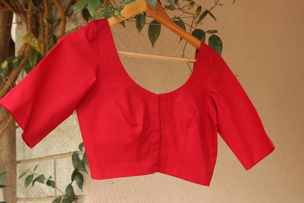 | Laal Pari | -  Front Open Red Elbow Sleeves Cotton Blouse.