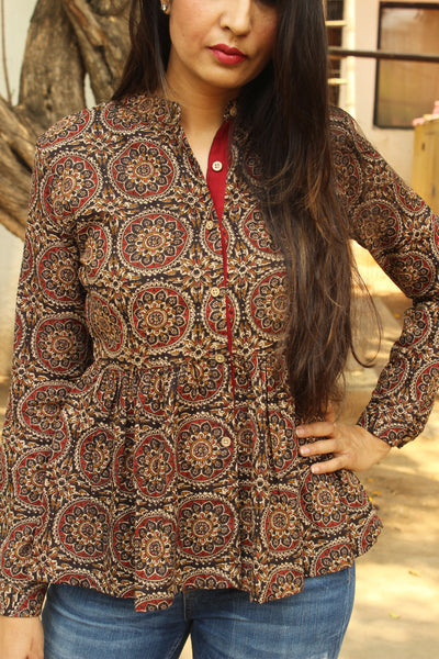 Black Kalamkari Peplum Full Sleeve Top. TOP0302
