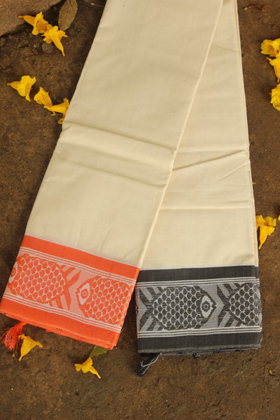 Handwoven 'Dhonekhali' saree in cream with grey and orange fish border. RK-FISH1-C14