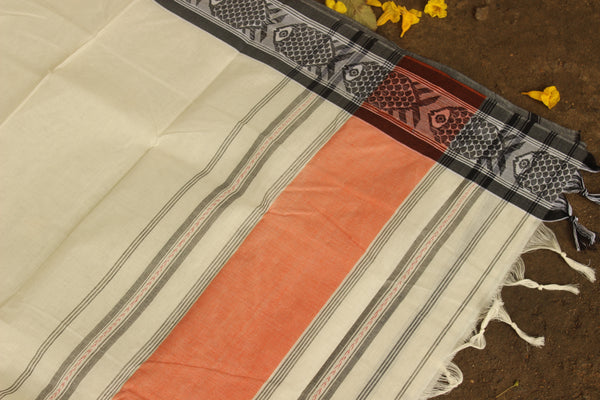 Handwoven 'Dhonekhali' saree in cream with grey and orange fish border. RK-FISH1-C14-The Chalk Boutique